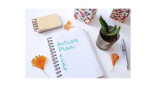 Dwa sposoby na osiągnięcie celu. kartka z planem działania