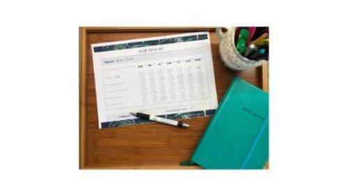 kartka z nawykami, planer i długopis zmotywowana na sukces