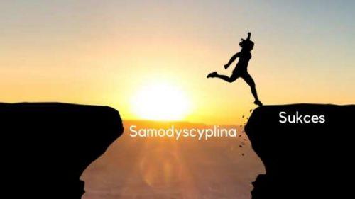 """Kobieta skacząca nad przepaścią. Nad przepaścią napis """"samodyscyplina"""" i na skale napis """"sukces"""""""