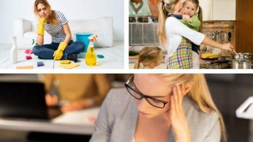 kobieta sprzatająca, opiekująca się dziećmi i kobieta w pracy - 3 zdjęcia kobiet. 2 ograniczające przekonania